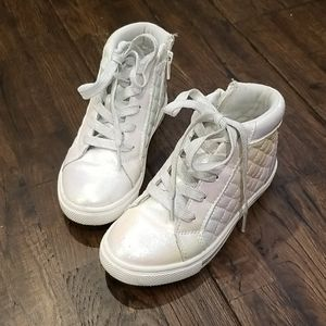 Girls Size 12 High Top Sneakers Irridescent